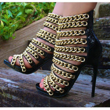 Load image into Gallery viewer, woman  black snake leather gold chain decoration 11cm high heels - Thj Fashion Boutique