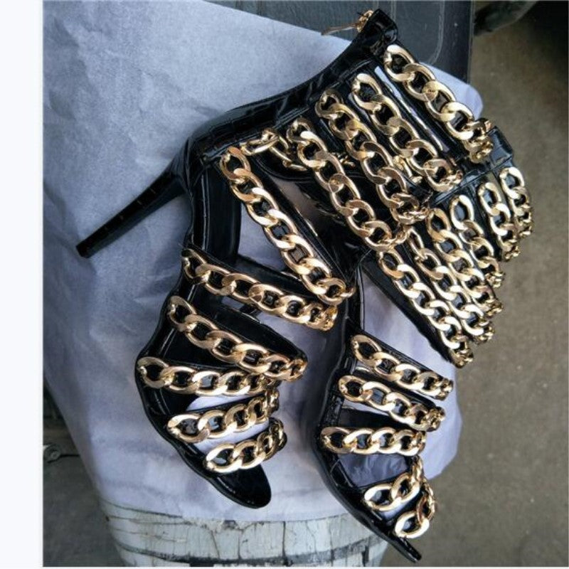woman  black snake leather gold chain decoration 11cm high heels - Thj Fashion Boutique