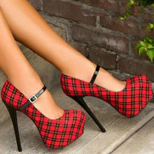 Load image into Gallery viewer, Super high hee red plaid women shoes waterproof - Thj Fashion Boutique