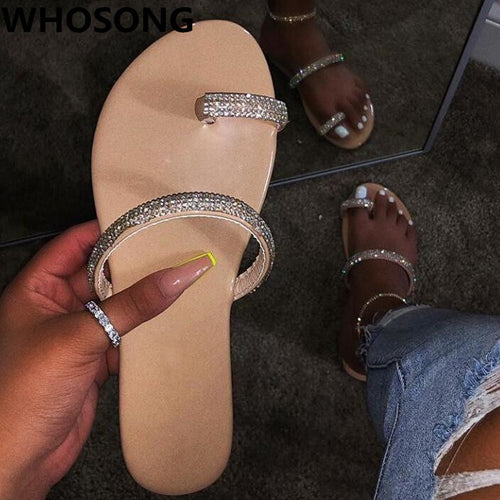 2019 new women's crystal  diamond flat sandals
