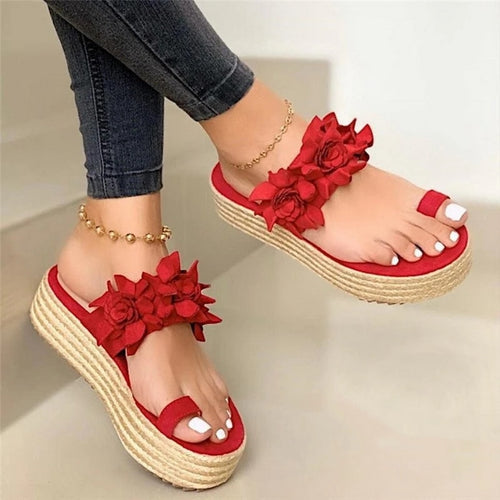 Woman Sandals Platform Flower Slippers Casual