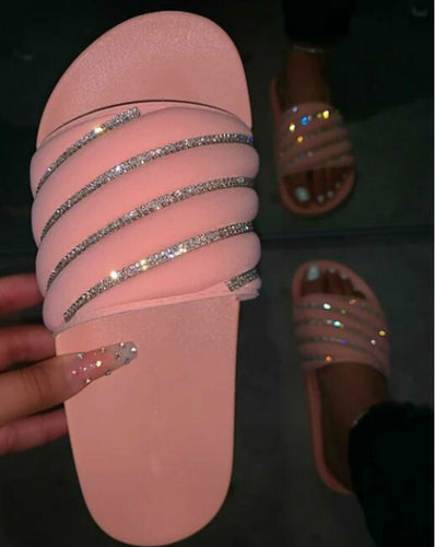 Comfortable Pink Rhinestone Bright Diamond Slippers