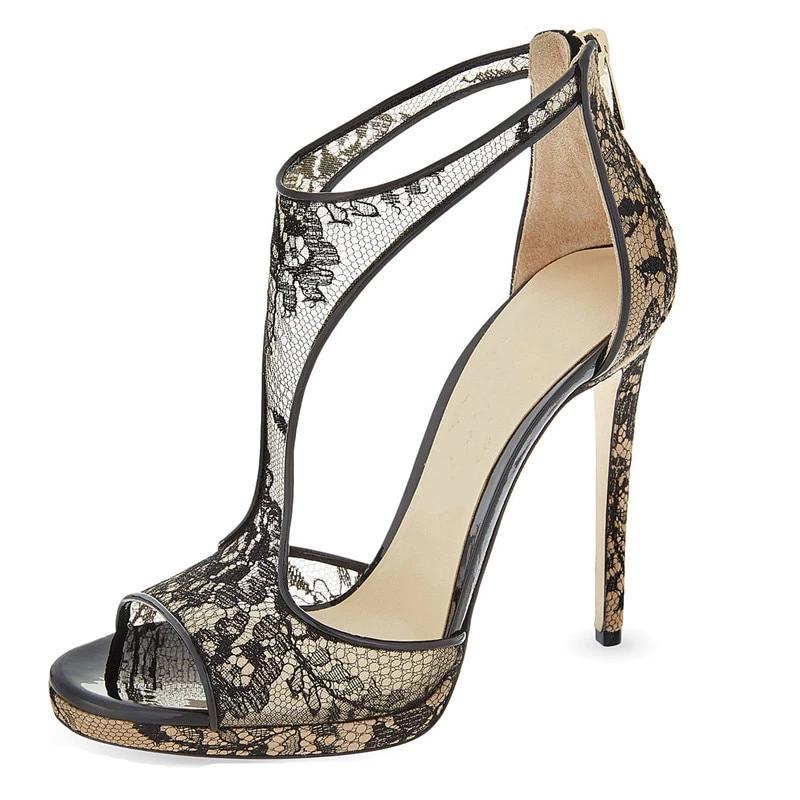 Black  Lace High Heels Ankle Strap