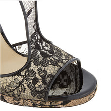 Load image into Gallery viewer, Black  Lace High Heels Ankle Strap