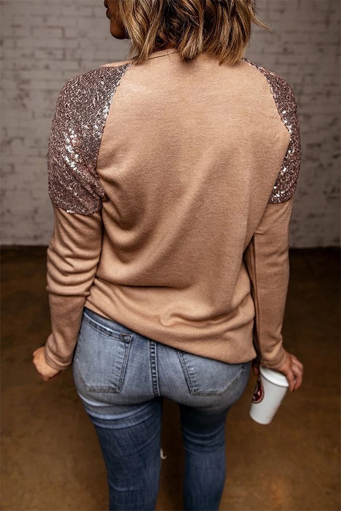Sequin Shoulder Long Sleeve Top