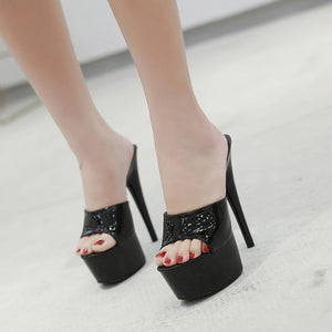 6 Color Woman Sexy High-heeled Platform Slippers Waterproof