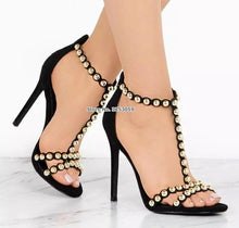 Load image into Gallery viewer, Designer Pink Suede Gold Studded Stiletto Heels T-strap Metal Pumps