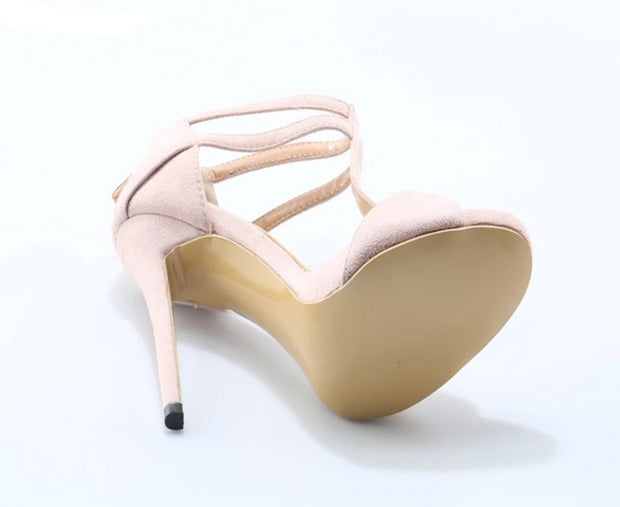 Light Pink Suede High Heel Stiletto Strappy T-strap Wrapped Shoes