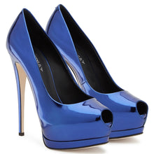 Load image into Gallery viewer, Women Shoes Peep Toe High Heels Pumps Platform Stilettos Ladies