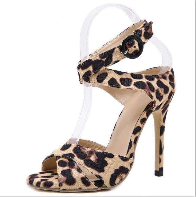 Sandals Women Leopard Print Thin High Heels Ankle Strap Pumps - Thj Fashion Boutique