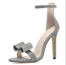 Load image into Gallery viewer, Rhinestone Silvery Butterfly-knot Women High Heels Ankle Buckles - Thj Fashion Boutique