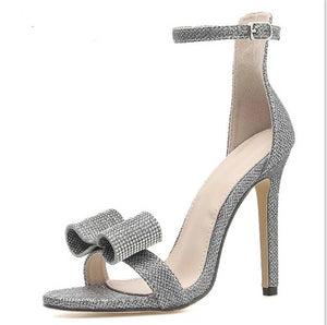Rhinestone Silvery Butterfly-knot Women High Heels Ankle Buckles - Thj Fashion Boutique