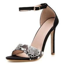 Load image into Gallery viewer, Women Buckle Strap Serpentine Cover Heel Thin High Heels Round Toe Black Heels