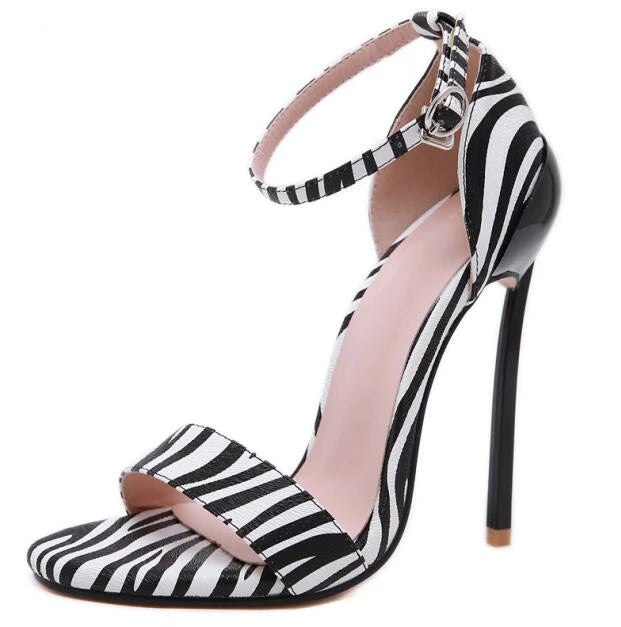 Sexy Tow Tone zebra ankle strap  Round Toe Thin High Heel