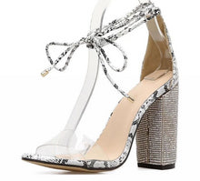 Load image into Gallery viewer, Women High Square Heels Crystal   Lace Up Heels