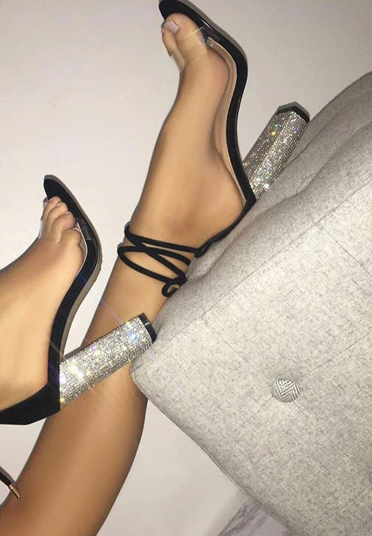 Women High Square Heels Crystal   Lace Up Heels