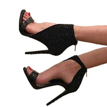 Load image into Gallery viewer, Black Rhinestone Ankle Wrap Crystal High Heel Glitter Pumps