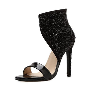 Black Rhinestone Ankle Wrap Crystal High Heel Glitter Pumps