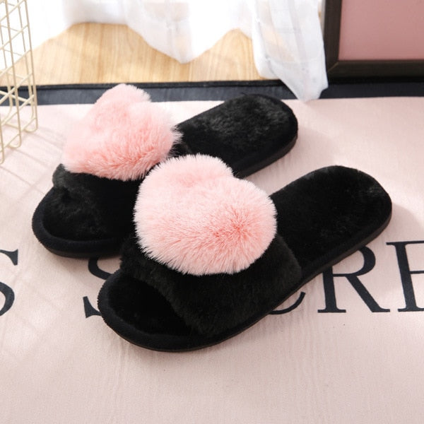 Women Love Heart fur ball Slippers  Non-Slip - Thj Fashion Boutique