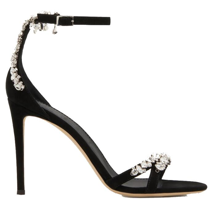 Crystal Chains Decorations High Heel Open Toe Sandals Ankle Strap