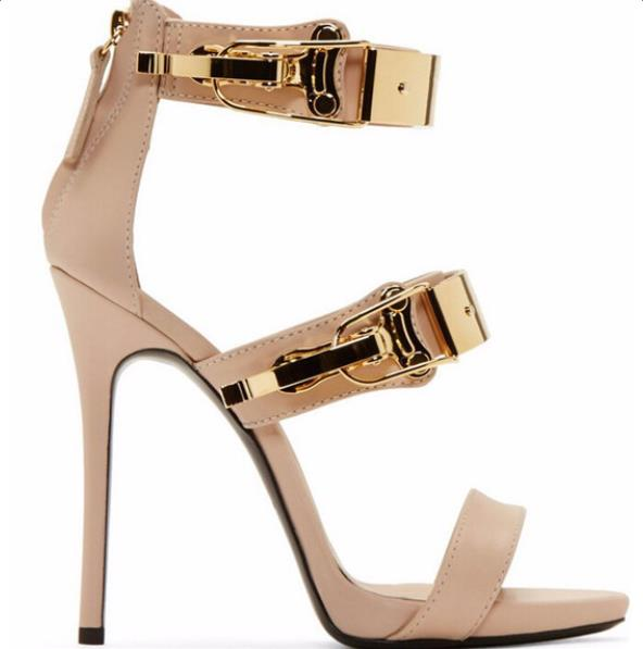 Leather Gold Sequined High Heel Sandal Peep Toe Cut-out Ankle Strap - Thj Fashion Boutique