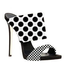 Load image into Gallery viewer, Black White Polka Dots Stilettos Open Toe High Heels Slippers - Thj Fashion Boutique