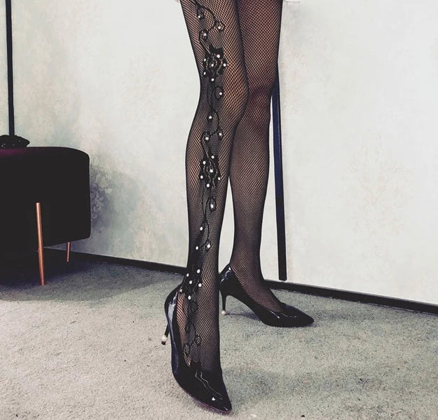 Glitter Rhinestones Sexy Thigh High Pantyhose - Thj Fashion Boutique