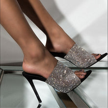 Load image into Gallery viewer, Rhinestone High Heels Open Toe Slippers