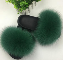 Load image into Gallery viewer, Women's Fox Hair Slippers - Thj Fashion Boutique