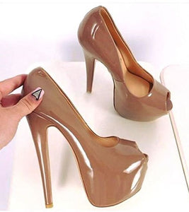 Peep Toe Platform Pumps Super High Heels Woman Dress Shoes