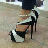 Celebrity Extreme High Heels Black Women Peep-toe Platform Heels