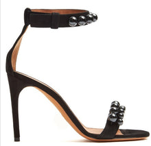 Load image into Gallery viewer, Genuine Leather Open Toe Ankle Buckle Strap Pearls Studded Black String Bead