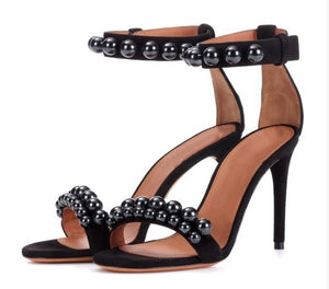 Genuine Leather Open Toe Ankle Buckle Strap Pearls Studded Black String Bead