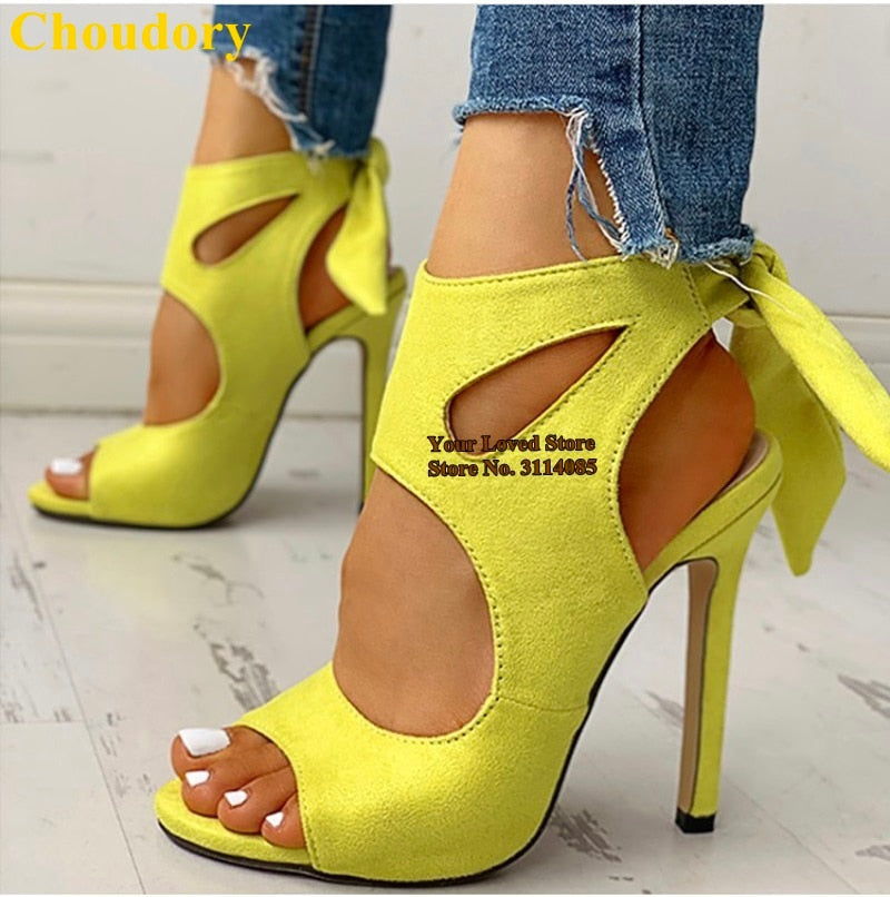 Neon Yellow Suede Cut-out Bowtie Sandals Thin High Heels Open Toe Lace-up - Thj Fashion Boutique