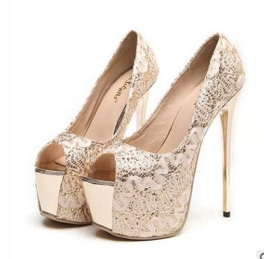 Classics Women Platform Peep Toe  Ultra High Heels