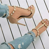 Pearl Studded Ankle Strap Thin High Heels Peep Toe