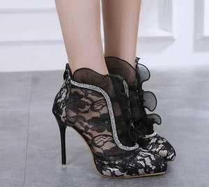 Ankle  stilettos high heels lace up net yarn zip heels - Thj Fashion Boutique