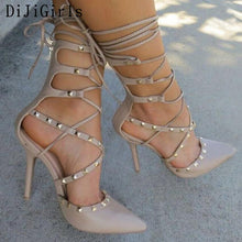 Load image into Gallery viewer, Sexy Hollow Cross Lace Up Rivets Stiletto High Heels Shoes - Thj Fashion Boutique