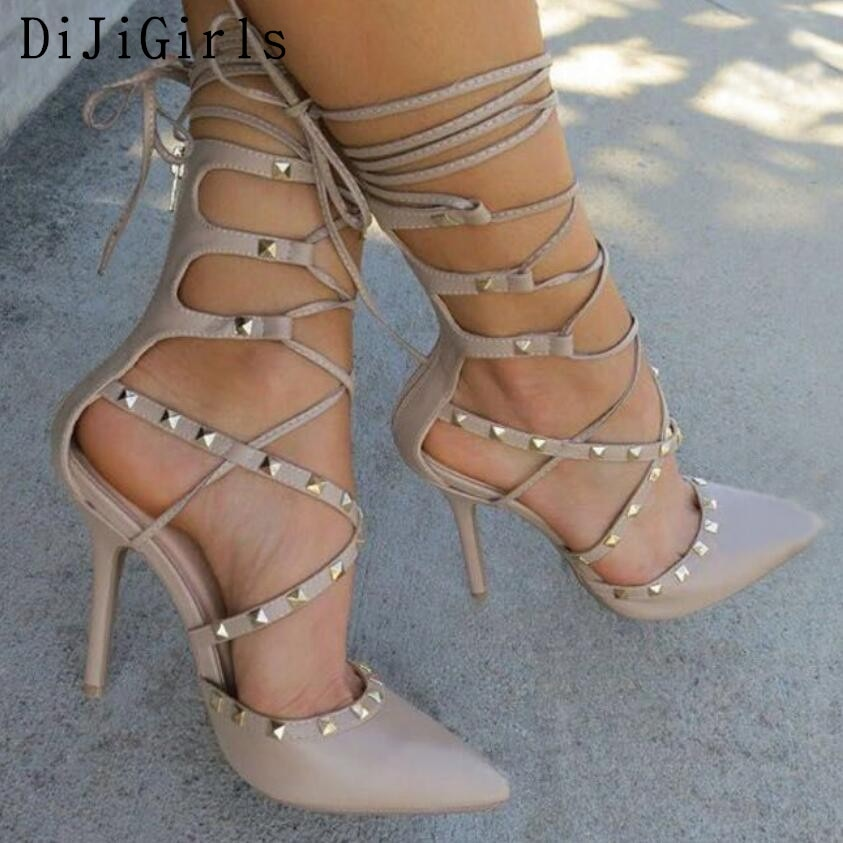 Sexy Hollow Cross Lace Up Rivets Stiletto High Heels Shoes - Thj Fashion Boutique