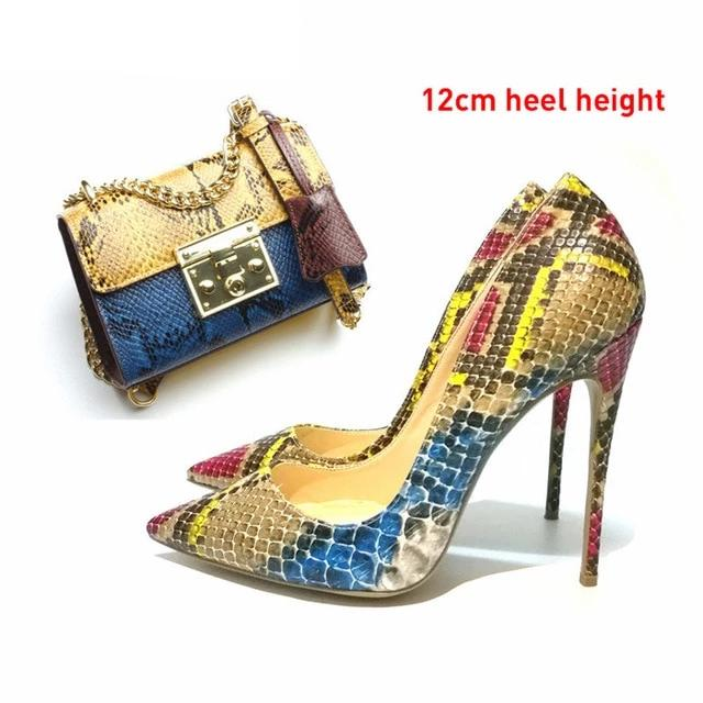 Snakeskin printed  shoes and bags matching set high heels pumps
