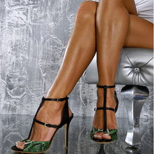 Load image into Gallery viewer, Double Buckle Straps Sexy Snake Prints Peep Toe Stylish Thin High Heels Sandals