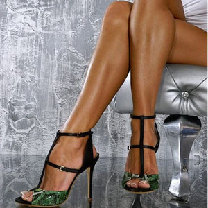 Double Buckle Straps Sexy Snake Prints Peep Toe Stylish Thin High Heels Sandals