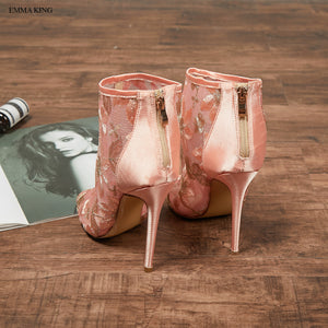 Embroider Mesh Elegant Thin Heel Zipper Ankle Wrap Stilettos Peep Toe High Heels