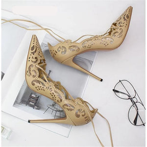 Laser Cut Elegant Women Pumps Cross Tied Ankle Strap Lace up Pointed Toe High Heel Dress Shoes