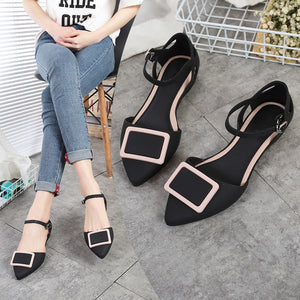 Women Pointed Toe Flat Heel Ankle Buckle Casual Flats (fit smaller than usual)