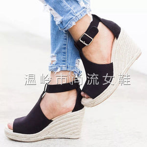 Open Toe High Heel Straw Heel Covered Hollow Out Surface Wedge - Thj Fashion Boutique