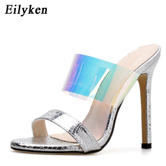 New Summer Women's Slippers  Sexy PVC Transparent Blue Serpentine Stiletto - Thj Fashion Boutique