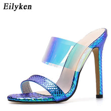 Load image into Gallery viewer, New Summer Women's Slippers  Sexy PVC Transparent Blue Serpentine Stiletto - Thj Fashion Boutique
