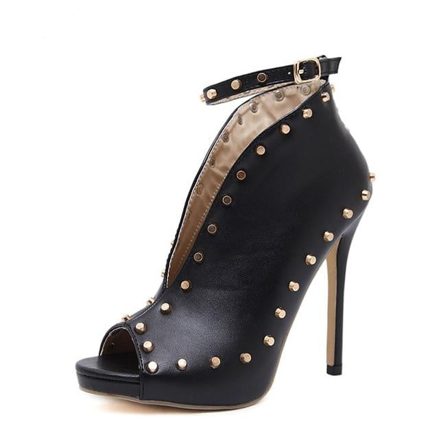 Peep Toe Booties High Heels Ankle Strap Rivets Buckle - Thj Fashion Boutique