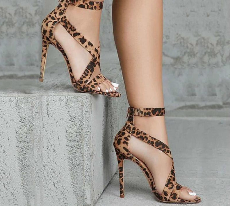 Leopard grain Sexy Open-toed Thin heels Elegant Buckle Strap Lady Pumps - Thj Fashion Boutique